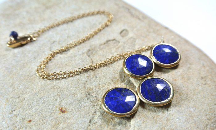 Gemstone Coin Necklace featuring four round, bezel-set lapis lazuli gemstones, $170. (Courtesy of Eva Shaw Designs)