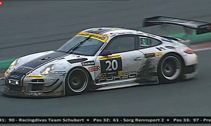 The #20 Stadler Motorsport Porsche 997 GT3 R driven by Mark and Rolf Ineichen, Marcel Matter, Adrian Amstutz, and Christian Engelhart, survived to win the Dunlop Dubai 24. (Screenshot from live.24hseries.com)