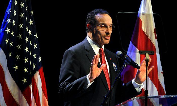 Washington Mayor Vincent Gray speaking at THEARC in Washington, Jan. 11. (AP Photo/The Washington Post, Michael S. Williamson)