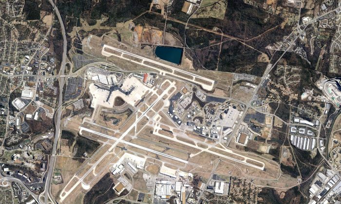 An aerial view of Nashville International Airport (BNA) in this file photo from 2011. (Wikimedia Commons via www.flynashville.com)