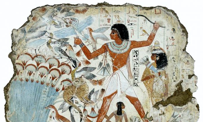 A Nebamun tomb painting of fish farming. (Courtesy of Manos Angelakis)
