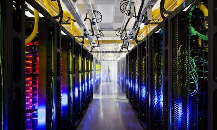 In this undated file photo made available by Google shows the campus-network room at a data center in Council Bluffs, Iowa. With the cooperation of foreign allies, the NSA is potentially gaining access to every email sent or received abroad, or between people abroad, from Google and Yahoo