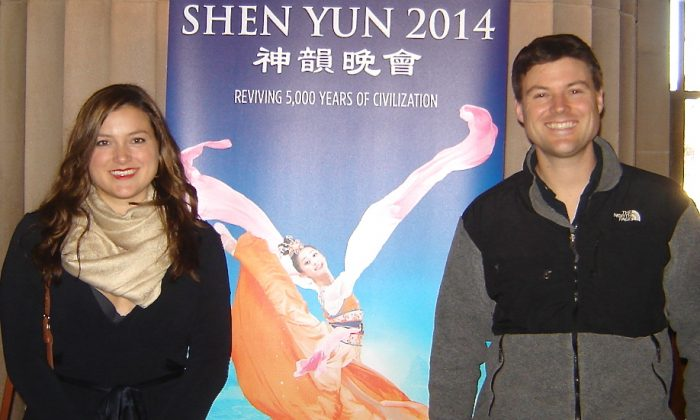 Noah Hawthorne (R) and his sister Sierra attended the last of nine Shen Yun performances in San Francisco, Jan. 12. (Michelle Yang/Epoch Times)