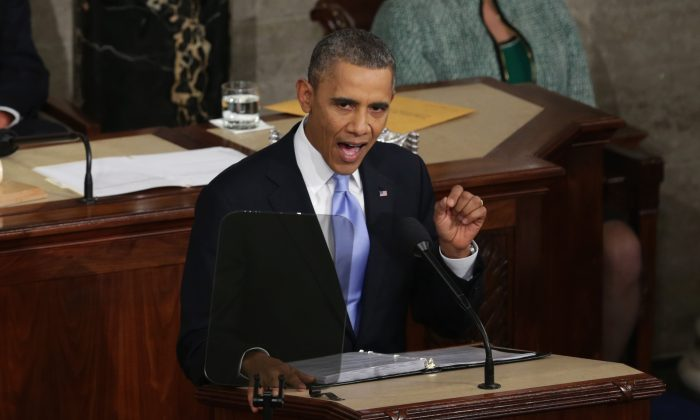 President Barack Obama delivers the State of the Union address to a joint session of Congress in the House Chamber at the U.S. Capitol in Washington, DC. on January 28, 2014 (Alex Wong/Getty Images)