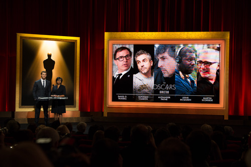 Actor Chris Hemsworth (L) and Academy President Cheryl Boone Isaacs announced the nominees for the 86th Annual Academy Awards in the Academy's Samuel Goldwyn Theater. (Academy of Motion Picture Arts and Sciences)