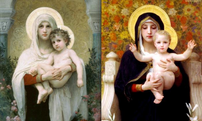 """La Madone aux Roses,"" 1903 (L), and ""La Vierge aux Lys,"" 1899 (R), both by William Bouguereau. (Courtesy of Art Renewal Center)"