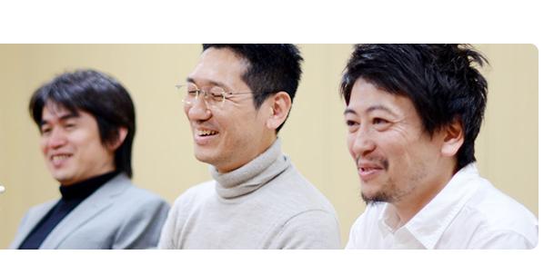 From L to R, Yoshiaki Koizumi, Kenta Motokura, and Shigeru Miyamoto, who work on the Super Mario series. (Nintendo)