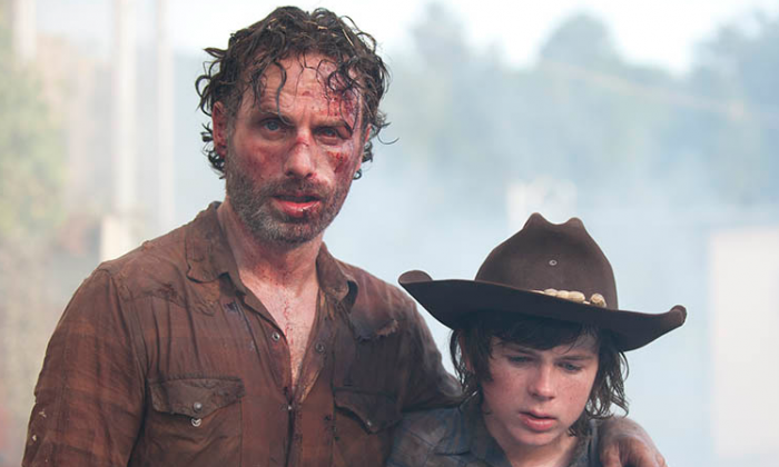 Rick Grimes (Andrew Lincoln) and Carl Grimes (Chandler Riggs) in Episode 8. (Gene Page/AMC)