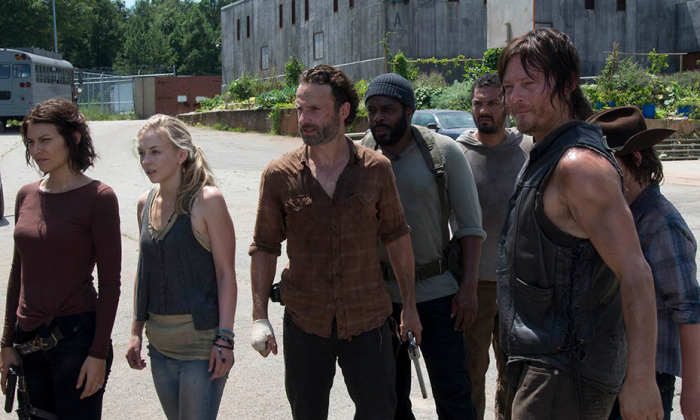Maggie Greene (Lauren Cohan), Beth Greene (Emily Kinney), Rick Grimes (Andrew Lincoln), Tyreese (Chad L. Coleman), Daryl Dixon (Norman Reedus) and Carl Grimes (Chandler Riggs) in Episode 8. (Gene Page/AMC)