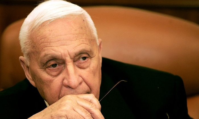 Israeli Prime Minister Ariel Sharon in his office in Jerusalem, Israel on Jan. 4, 2006, shortly before the coma-inducing stroke that ended his public life. (Eliana Aponte-Pool/Getty Images)