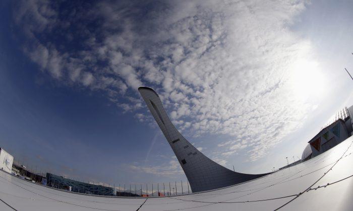 The Olympic cauldron for the 2014 Winter Olympics is shown Saturday, Jan. 25, 2014, in Sochi, Russia. The Olympics begin Feb. 7th. (AP Photo/David J. Phillip)