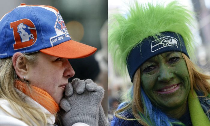 Left: Denver Broncos fan Nancy Scollon tries to keep warm as she waits for the Broncos players to arrive at their team hotel Sunday, Jan. 26, 2014, in Jersey City, N.J. (AP Photo/Mark Humphrey) Right: A Seattle fan on NFL's Super Bowl Boulevard in New York on Jan. 29, 2014. (Timothy Clary/AFP/Getty Images)