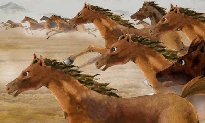 """""""Thousands of horses galloping ahead"""" is a Chinese metaphor for charging ahead at full steam. (Hua Kuo/Epoch Times)"""