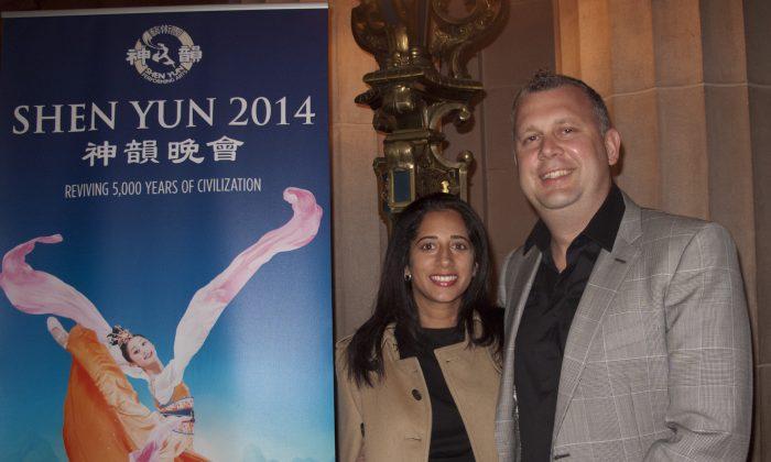 Todd Papaioannou (R) and Farah Giga were both impressed by Shen Yun Performing Arts on Jan. 9. (Alex Ma/Epoch Times)