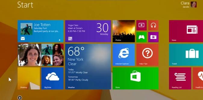The Windows 8.1 Start Screen