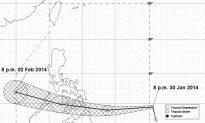 Tropical Depression Basyang Moves West Toward Surigao, Philippines