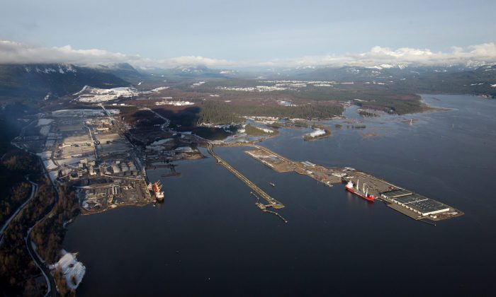An aerial view of the town of Kitimat, the Kitimat Smelter, and the Douglas Channel, the proposed termination point for the Northern Gateway pipeline. A new report has found that the southern B.C. coast and the Gulf of St. Lawrence are the Canadian areas most vulnerable to marine oil spills. (The Canadian Press/Darryl Dyck)