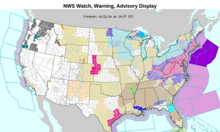 National Weather Service Watch, Warning, and Advisory Display (map from NOAA)