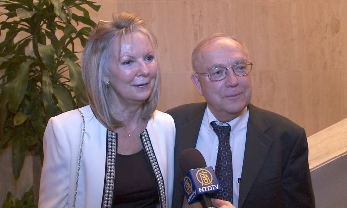 David Seiler and Linda Moore share their experiences after watching Shen Yun Performing Arts at the Lyric Opera House in Baltimore, Maryland, on Jan. 18, 2014. (Courtesy of NTD Television)