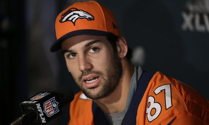 Denver Broncos wide receiver Eric Decker talks with reporters during a news conference Thursday, Jan. 30, 2014, in Jersey City, N.J. The Broncos are scheduled to play the Seattle Seahawks in the NFL Super Bowl XLVIII football game Sunday, Feb. 2, in East Rutherford, N.J. (AP Photo)