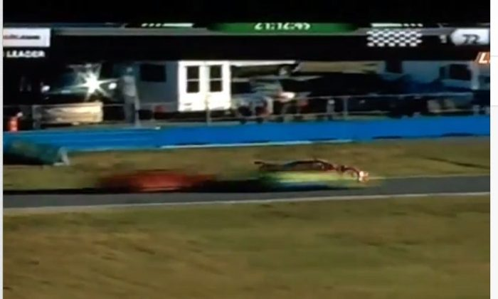 A video screengrab shows the crash in Daytona