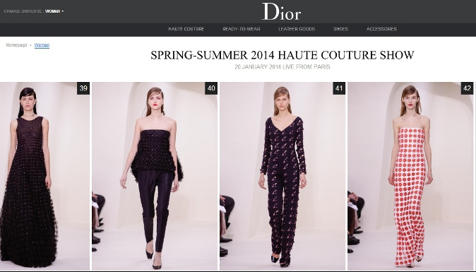 Dior Spring-summer 2014 haute couture collection, Jan. 20 2014, Paris. (Screenshot Dior.com)