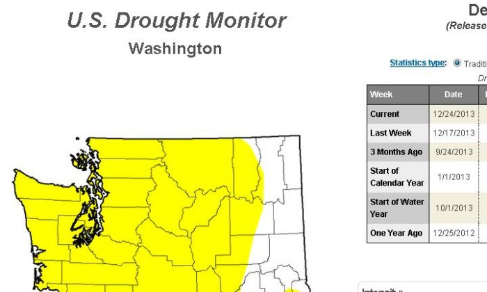 "The drought monitor map for December 24, the last updated map in 2013, shows most of the state under ""abnormally dry"" conditions. (US Drought Monitor)"