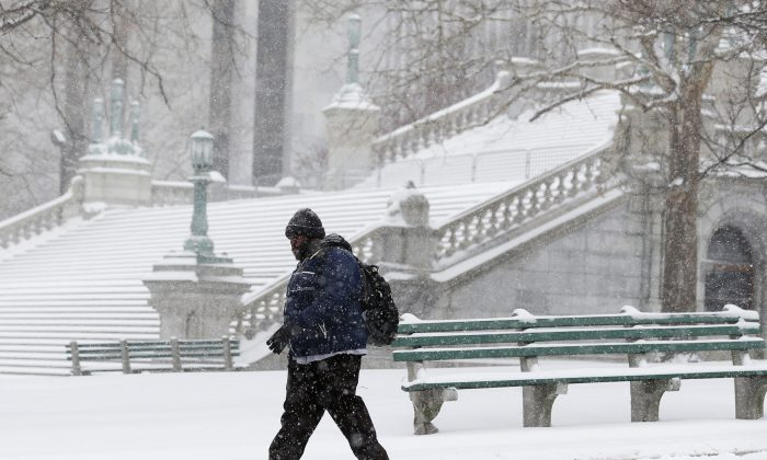 A pedestrian walks through the snow outside the state Capitol in Albany, N.Y., Jan. 2, 2014. (AP Photo/Mike Groll)
