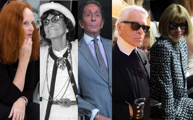 From left: US Vogue's artistic director Grace Coddington, French fashion designer Coco Chanel, Italian couturier Valentino Garavani, German fashion designer Karl Lagerfeld, and Editor-in-Chief of American Vogue Anna Wintour. (All AFP/Getty Images: MARTIN BUREAU, STF, CARL COURT, ERIC FEFERBERG, MEHDI TAAMALLAH)