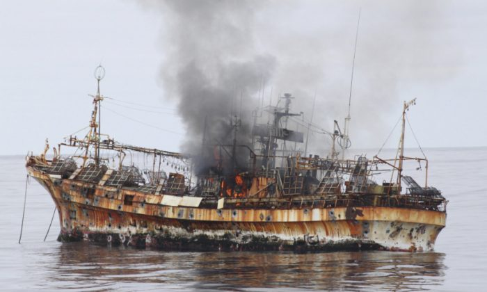 The Ryou-Un Maru, a Japanese ghost ship scuttled by the US coast guard off the coast of Alaska in 2012. The Lyubov Orlova ship probably looks simialr to this now. (US Coast Guard)