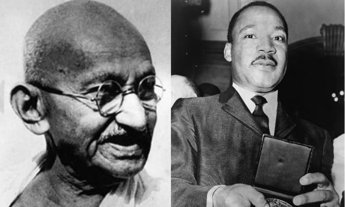 Left: Mahatma Gandhi (Wikimedia Commons) Right: Martin Luther King Jr. (Phil Stanziola, NYWT&S, Via Library of Congress)
