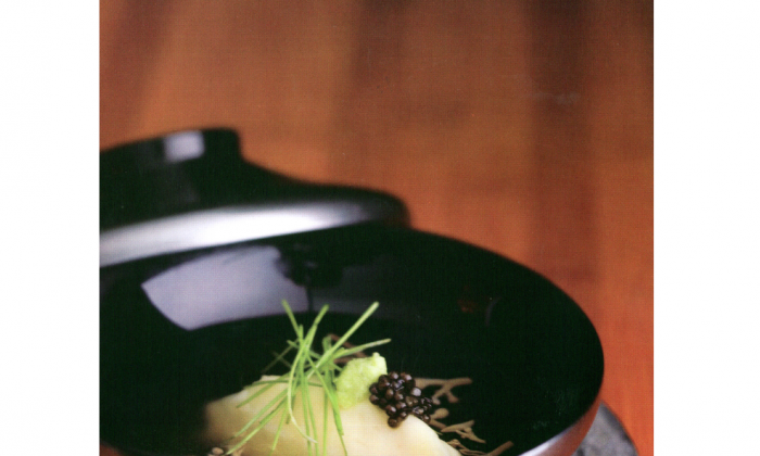 Mashed potato soup with wasabi and chives. (Courtesy of Masaharu Morimoto)