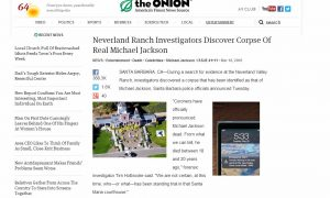 Michael Jackson Corpse-Fake Body Article is 'Onion' Satire; Many Thought it was Real