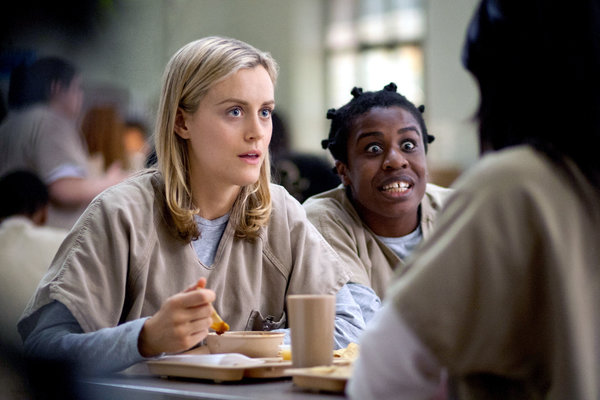 "A scene from ""Orange Is the New Black,"" with Piper (Taylor Schilling), left, and Suzanna ""Crazy Eyes"" Warren. (Uzo Aduba). (Paul Schiraldi/Netflix)"