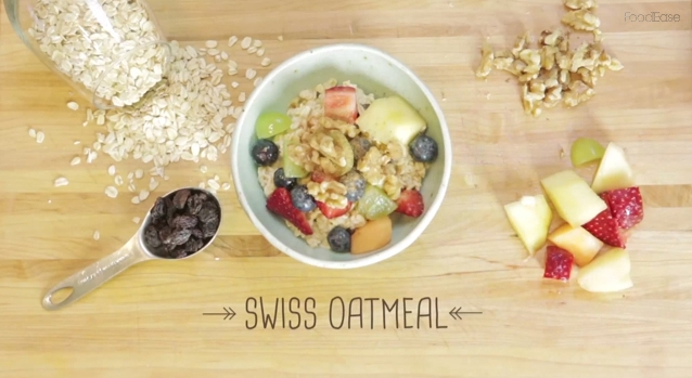 Healthy morning with Swiss oatmeal. (Courtesy of FoodEaseTv)