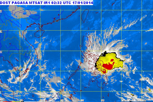 A satellite image of Tropical Storm Agaton as of 10:30 a.m. on January 17, 2014. (PAGASA)