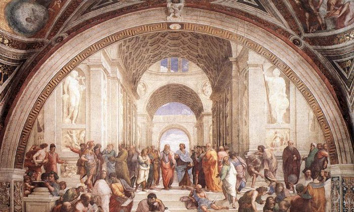 """The School of Athens."" Fresco, 1509. Stanza della Segnatura, Palazzi Pontifici (Vatican, Holy See (Vatican City State) (All images courtesy of Art Renewal Center)"