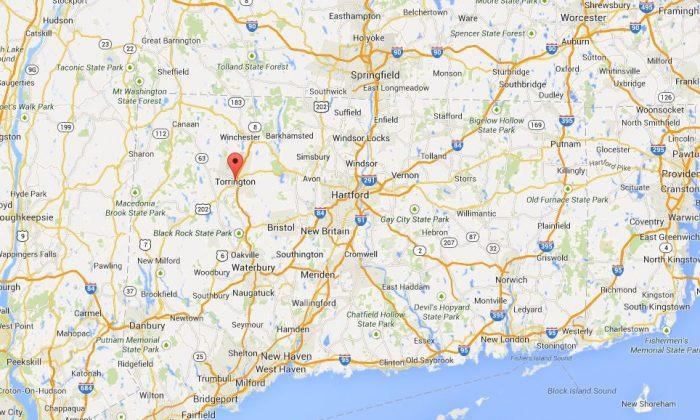 A Google Maps screengrab shows Torrington, Connecticut.