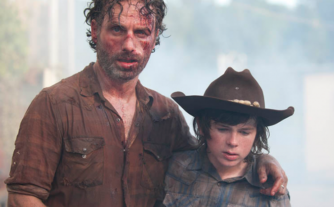 Rick Grimes (Andrew Lincoln) and Carl Grimes (Chandler Riggs). (Gene Page/AMC)