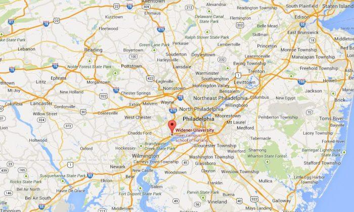 A screenshot of Google Maps shows Widener University in Chester, Penn.