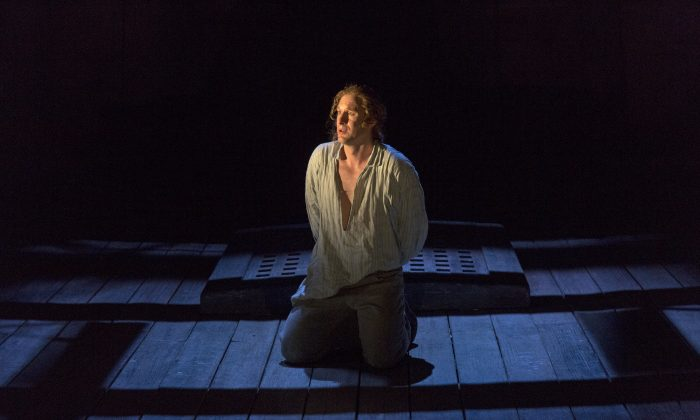 "Jacques Imbrailo as Billy Budd. The character represents innocence and goodness in Benjamin Britten's opera ""Billy Budd,"" which played at Brooklyn Academy of Music's Gilman Opera House for a short run. (Richard Termine)"