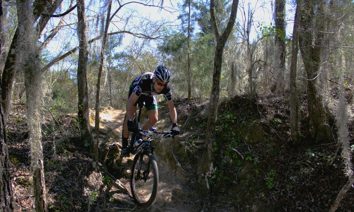 A rider begins a tricky descent a few hours into the 2014 Santos Twelve Hours mountain bike race in Florida's Ocala National Forest, Feb. 154, 2014. (Chris Jasurek/Epoch Times)