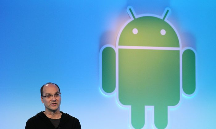 Google's vice president of engineering Andy Rubin unveils Android Honeycomb, operating system, the first Android operating system designed specifically for tablets. (Justin Sullivan/Getty Images)