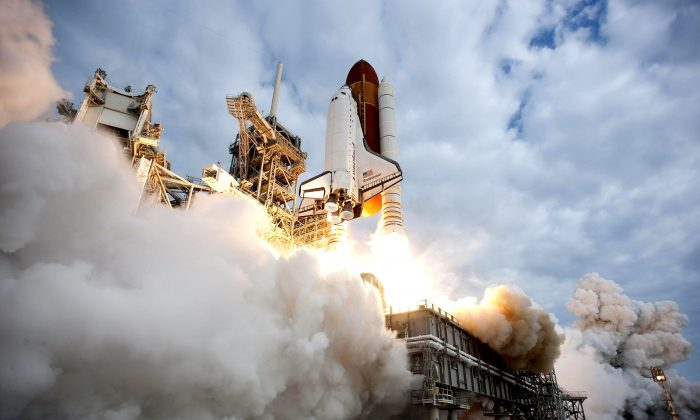 NASA space shuttle Endeavour lifts off from Launch Pad 39A at NASA's Kennedy Space Center May 16, 2011 in Cape Canaveral, Florida. (NASA via Getty Images)