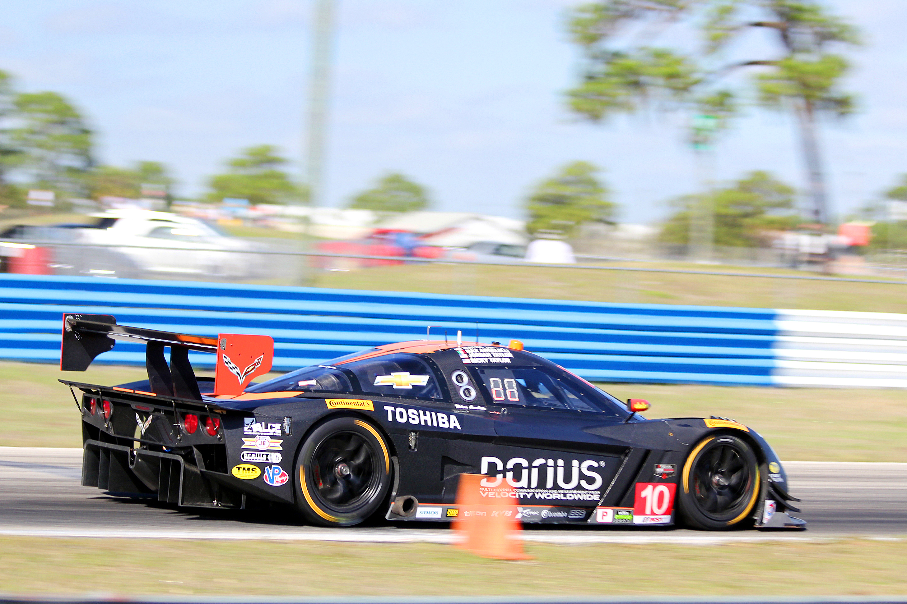 The #10 DP Wayne Taylor Racing Dallara-Corvette was second quickest; this shot shows the new rear diffuser. (Chris Jasurek/Epoch Times)