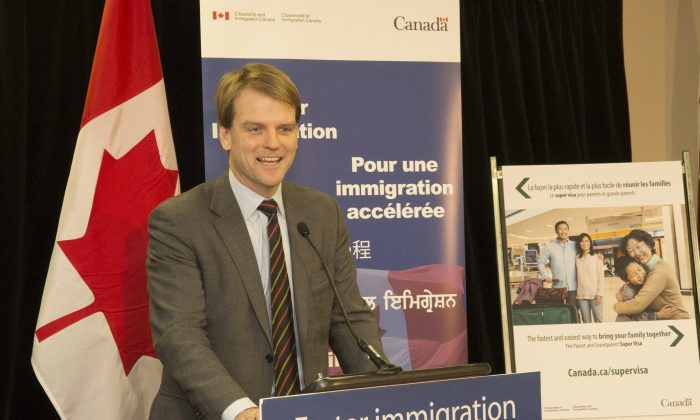 Immigration Minister Chris Alexander provides an update on family reunification and the Parent and Grandparent program in Brampton, Ontario, on Dec. 17, 2013. (CIC)