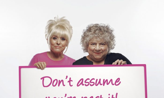 Actresses Barbara Windsor and Miriam Margolyes back the Be Clear on Cancer campaign to urge women over 70 to regularly check their breasts for cancer. (Courtesy of Public Health England)
