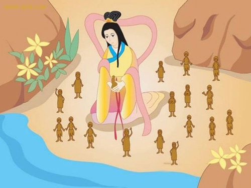 In China's mythology, Goddess Nu Wa is seen as the Goddess of Creation and a Master God. As an almighty goddess, she is able to create and transform all matters; she used clay to create humans and melted down stones to repair the broken sky.