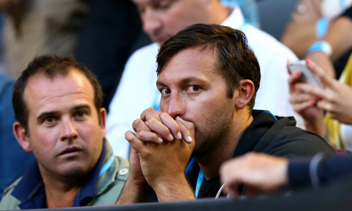 Former Australian Olympic Swimmer Ian Thorpe watches on during day one of the 2013 Australian Open at Melbourne Park on January 14, 2013 in Melbourne, Australia. (Ryan Pierse/Getty Images)