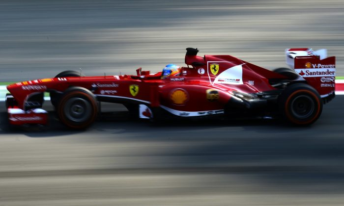 Ferrari's Spanish driver Fernando Alonso drives during the first practice session at the Autodromo Nazionale circuit in Monza on September 6, 2013 ahead of the Italian Formula One Grand Prix. (OLIVIER MORIN/AFP/Getty Images)